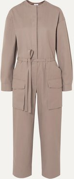 Belted Twill Jumpsuit - Neutral