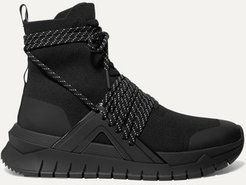 Troop Stretch-knit And Leather High-top Sneakers - Black