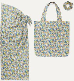 Floral-print Cotton Pareo, Tote And Hair Tie Set - Bright blue