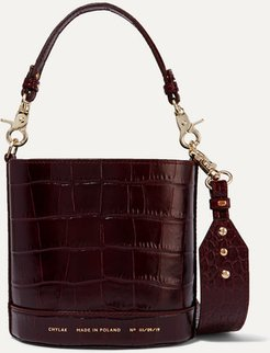 Cylinder Mini Glossed Croc-effect Leather Shoulder Bag - Burgundy