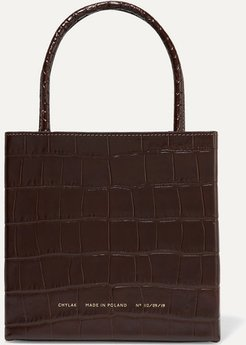 Square Glossed Croc-effect Leather Tote - Brown