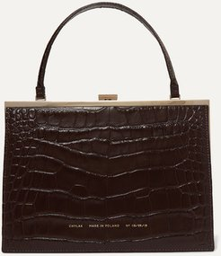 Vintage Clasp Croc-effect Leather Tote - Brown