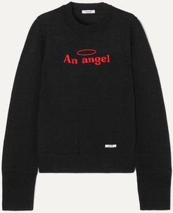 An Angel Embroidered Cotton And Wool-blend Sweater - Black