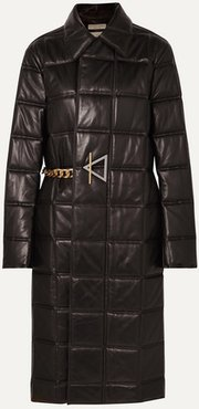 Chain-embellished Quilted Leather Coat - Black