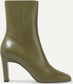 Isa Leather Ankle Boots - Army green