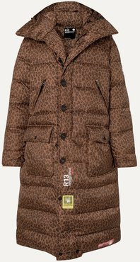 r13 Hooded Quilted Leopard-print Shell Down Coat - Brown