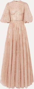 Sequined Flocked Tulle Gown - Beige
