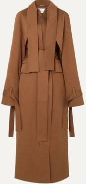 Draped Gabardine Trench Coat - Brown