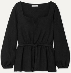 Liz Belted Tweed Blouse - Black