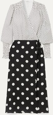 Ruffled Polka-dot Silk-jacquard Wrap Dress - White
