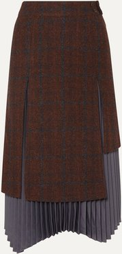 Marcia Layered Wool And Alpaca-blend And Pleated Satin Skirt - Brown