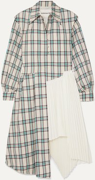 Olivia Asymmetric Paneled Checked Twill And Pleated Crepe Dress - White