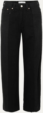 Net Sustain The Twin Frayed Two-tone High-rise Wide-leg Jeans - Black