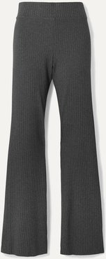 Angelique Ribbed Stretch-jersey Flared Pants - Dark gray