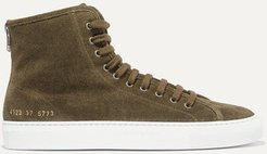 Tournament Shearling-lined Suede High-top Sneakers - Army green
