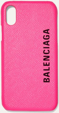 Printed Textured-leather Iphone X Case - Pink