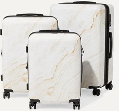 Metallic Marbled Hardshell Suitcase Set - White
