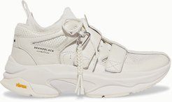 Brandblack - Pushbutton Saga Leather, Mesh And Stretch-knit Sneakers - White