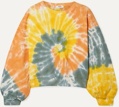 Tie-dyed Cropped Cotton-jersey Sweatshirt - Yellow