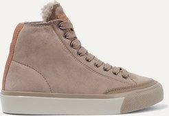 Rb Shearling-lined Suede Sneakers - Taupe