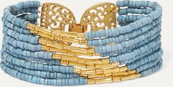 Mitu Gold-plated And Ceramic Beaded Bracelet - Blue