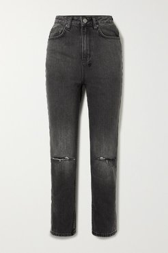 Chlo Wasted Distressed High-rise Straight-leg Jeans - Black