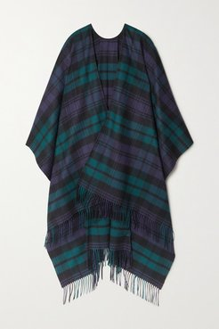 Fringed Checked Cashmere Wrap - Navy