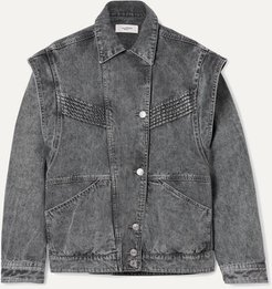Harmon Oversized Convertible Acid-wash Denim Jacket - Gray