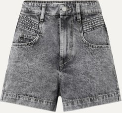 Hiana Acid-wash Denim Shorts - Gray