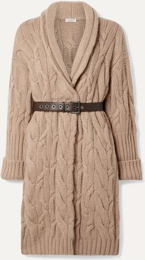 Oversized Belted Cable-knit Cashmere Cardigan - Camel