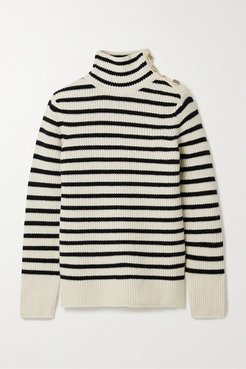Striped Wool And Cashmere-blend Turtleneck Sweater - Ivory