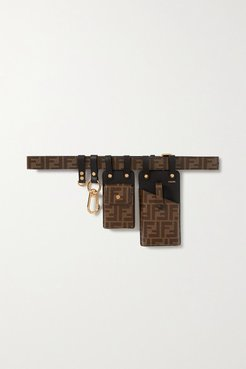 Printed Coated-canvas And Leather Belt - Brown