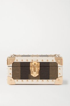 Studded Leather-trimmed Striped Jacquard Jewelry Box - Neutral