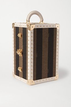 Studded Leather-trimmed Striped Canvas Case - Brown