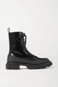 Gao Rubber-trimmed Glossed-leather Platform Boots - Black