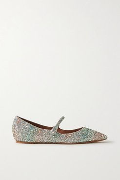 Hermione Glittered Metallic Leather Point-toe Flats - Silver