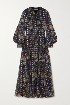 Embroidered Printed Silk-georgette Maxi Dress - Navy