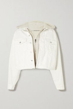 Layered Embroidered Denim And Cotton-blend Jersey Jacket - White