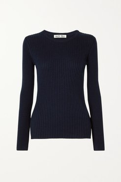 Ribbed Wool And Cotton-blend Sweater - Midnight blue