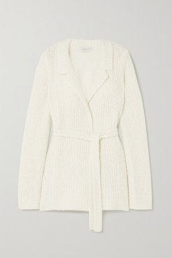 Coles Belted Cashmere And Silk-blend Bouclé Blazer - Ivory