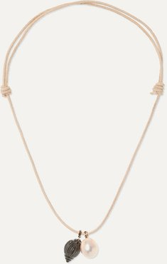 Leather, Onyx And Pearl Necklace - Rose gold