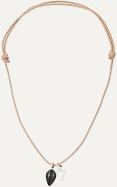 Leather, Tiger's Eye And Crystal Necklace - Rose gold
