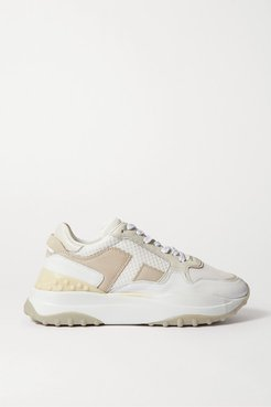 Leather, Mesh And Nubuck Sneakers - White