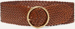 Woven Leather Belt - Brown