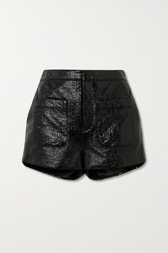 Crinkled Glossed Faux Leather Shorts - Black