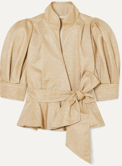 Stella Metallic Crepe Peplum Jacket - Tan