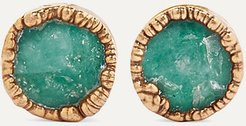 Gold-plated Emerald Earrings - Green