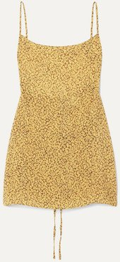 The Km Leopard-print Cupro Mini Dress - Yellow