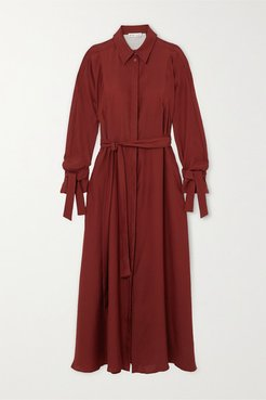 Belted Organic Silk Maxi Dress - Burgundy