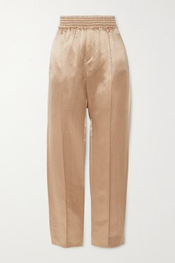 Hemp And Silk-blend Straight-leg Pants - Gold